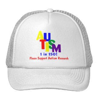 Autismo 1 en la investigación del autismo de 150 a gorros bordados