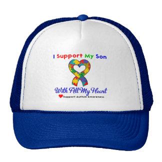 Autismo: Apoyo a mi hijo con todo mi corazón Gorros Bordados