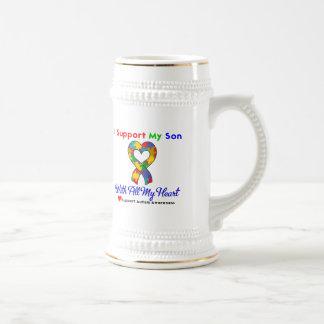 Autismo: Apoyo a mi hijo con todo mi corazón Tazas De Café