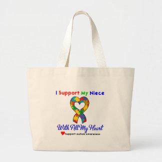 Autismo: Apoyo a mi sobrina con todo mi corazón Bolsa De Mano