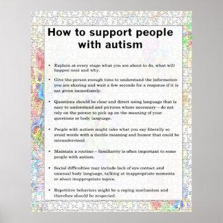 Autismo cómo apoyar alguno con autismo póster