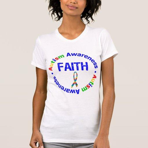Autismo de la cinta del rompecabezas de la fe playeras