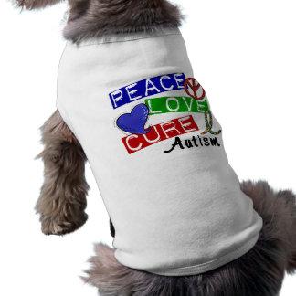 Autismo de la curación del amor de la paz playera sin mangas para perro