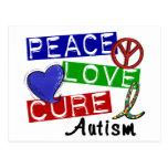 Autismo de la curación del amor de la paz postales