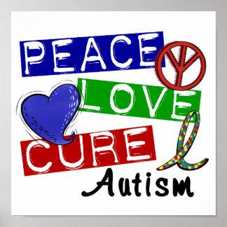 Autismo de la curación del amor de la paz póster