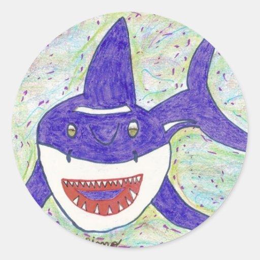 Autismo de la especie del tiburón pegatina redonda