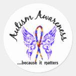 Autismo de la mariposa 6,1 del tatuaje del Grunge Pegatina Redonda