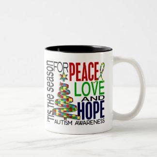Autismo del día de fiesta del navidad de la espera tazas de café