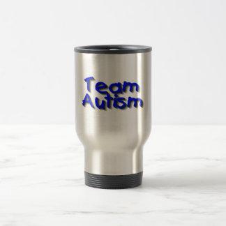 Autismo del equipo (azul) taza de viaje de acero inoxidable