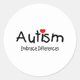 Autismo, diferencias del abrazo pegatina redonda