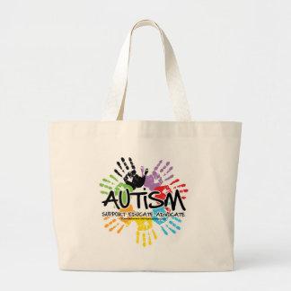 Autismo Handprint Bolsa Tela Grande