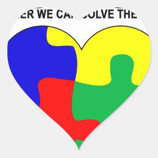 Autismo - juntos podemos solucionar la camiseta pegatina en forma de corazón