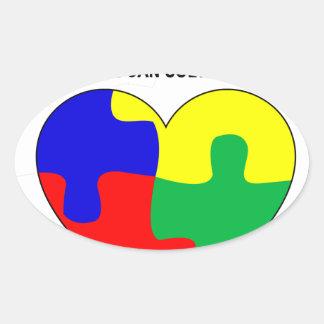 Autismo - juntos podemos solucionar la camiseta pegatina ovalada
