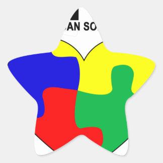 Autismo - juntos podemos solucionar la camiseta pegatina en forma de estrella