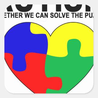 Autismo - juntos podemos solucionar la camiseta pegatina cuadrada