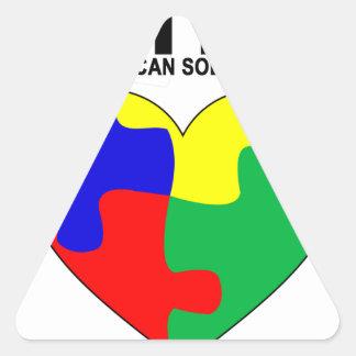 Autismo - juntos podemos solucionar la camiseta pegatina triangular