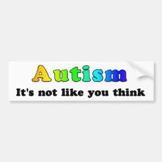 Autismo: No como usted piense Pegatina De Parachoque