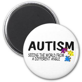 Autismo que ve el mundo de un diverso ángulo imán redondo 5 cm