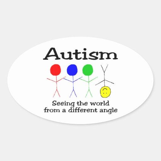 Autismo que ve el mundo de un diverso ángulo pegatina ovalada