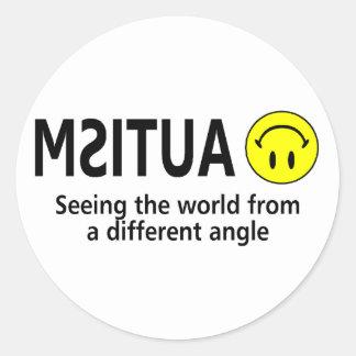 Autismo que ve el mundo de un diverso ángulo pegatina redonda