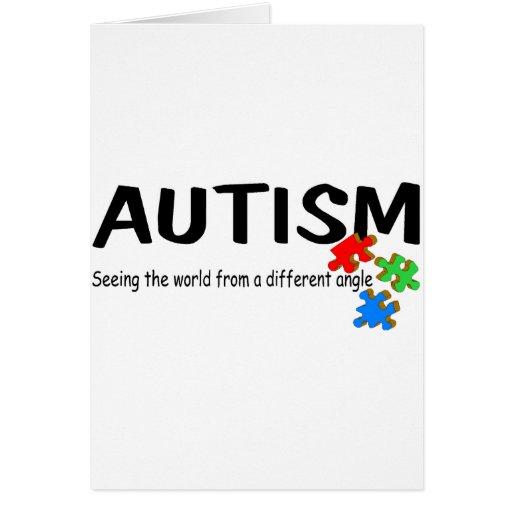 Autismo que ve el mundo de un diverso ángulo (pi tarjeta de felicitación
