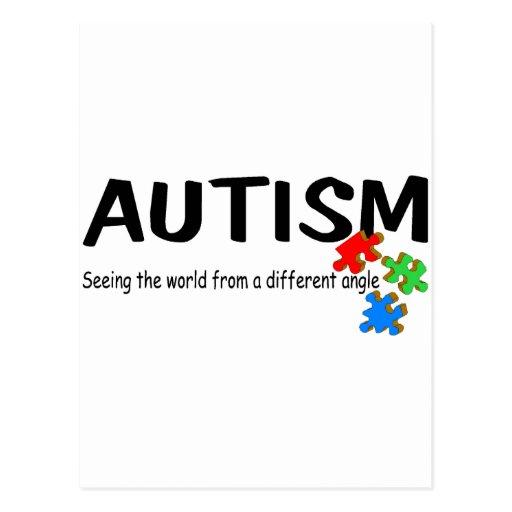 Autismo que ve el mundo de un diverso ángulo (pi tarjetas postales