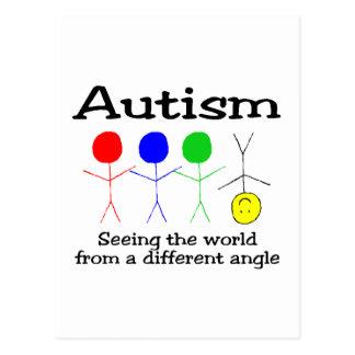 Autismo que ve el mundo de un diverso ángulo postal