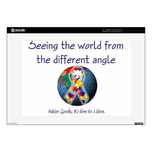 Autismo que ve el mundo del diverso ángulo portátil skin