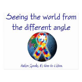Autismo que ve el mundo del diverso ángulo postales