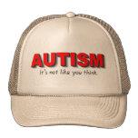Autismo su no gusto que usted piensa (el rojo) gorros bordados