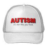 Autismo su no gusto que usted piensa (el rojo) gorras