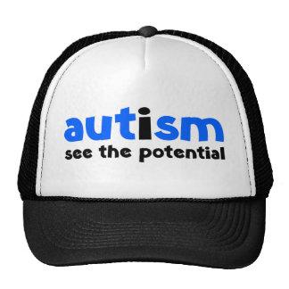 Autismo - vea el potencial gorros bordados