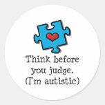 AutismPuzzleThinkJudge Round Stickers