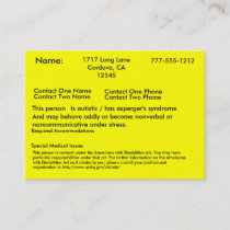 Autistic Alert Card