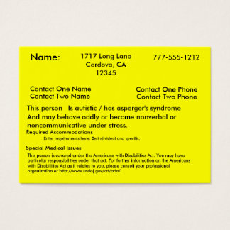 Autistic Alert Card V2