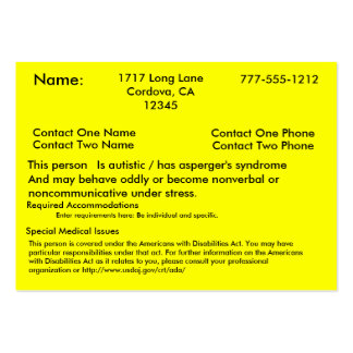 Autistic Alert Card V2 Business Card Template