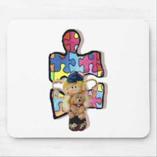 Autistic Boy Angel With Puppy Mouse Pad