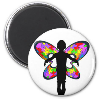 Autistic Butterfly Ribbon 2 Inch Round Magnet