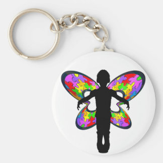 Autistic Butterfly Ribbon Basic Round Button Keychain