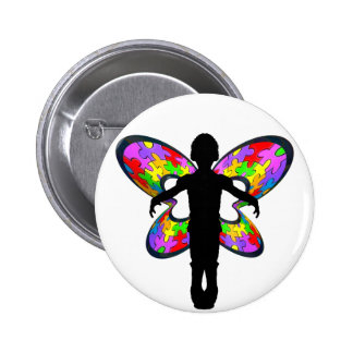 Autistic Butterfly Ribbon Button