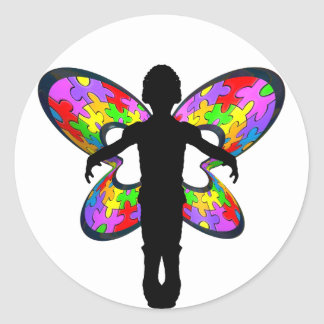 Autistic Butterfly Ribbon Classic Round Sticker