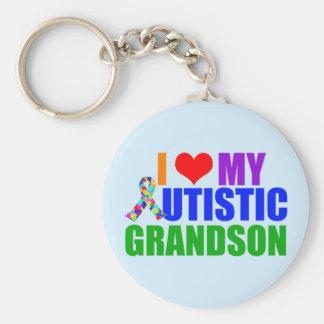 Autistic Grandson Basic Round Button Keychain