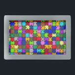 "Autistic Jigsaw Rectangular Belt Buckle<br><div class=""desc"">Autistic Jigsaw design,  very colorful and very trendy.</div>"
