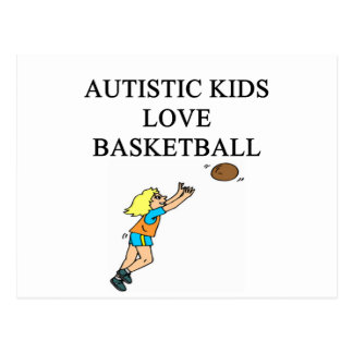 autistic kids love basketball postcard