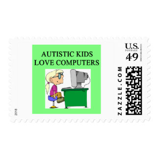 autistic kids love computers postage