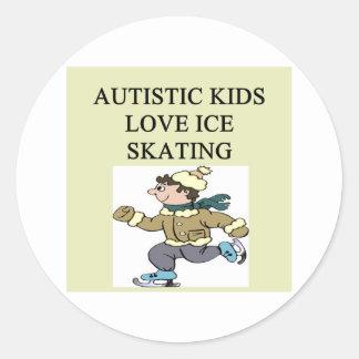 autistic kids love ice skating round stickers