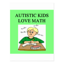 autistic kids love math postcard