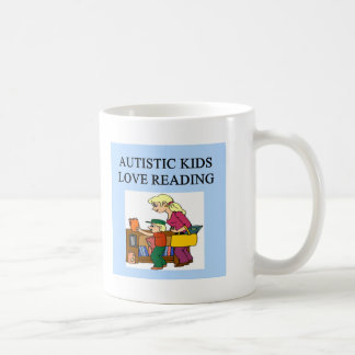 autistic kids love reading classic white coffee mug
