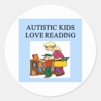 autistic kids love reading round stickers