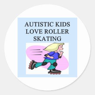 autistic kids love roller skating round sticker